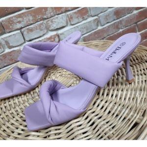 Lavender Purple Square Toe Heel
